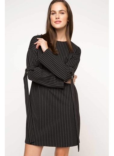 DeFacto Çizgili Elbise Siyah